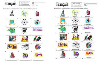French Class Subjects 18 Vocabulary IDs