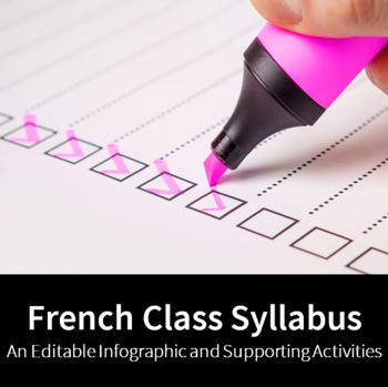 French Class Syllabus - An Editable Infographic and Supporting Activities