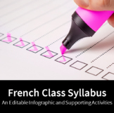 French Class Syllabus - An Editable Infographic and Suppor