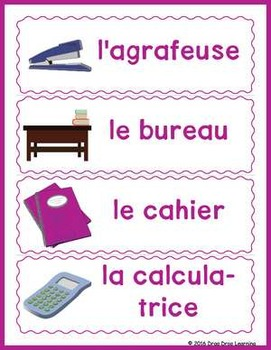 French Classroom Vocabulary Word Wall