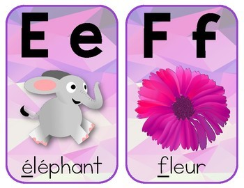 French Classroom Alphabet Posters - Purple Geometric