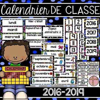 French Classroom Calendar - Calendrier de classe 2016-2017