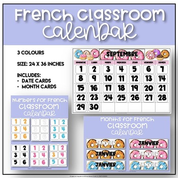 image about Printable Classroom Calendar named French JUMBO Clroom Calendar - Donut Concept