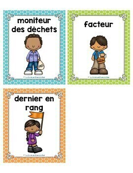 French Classroom Jobs / Les responsabilités de classe (Vertical Version)