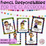 French Classroom Jobs and Responsabilities Label- Les responsabilités de classes