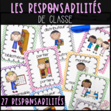 French Classroom Jobs and Responsabilities - Les responsabilités de classe