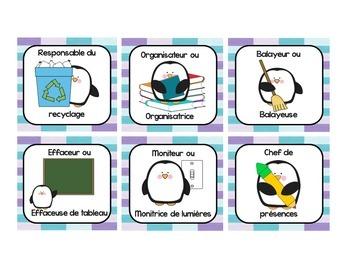 French Classroom Jobs and Responsabilities - Les responsabilités de classe 4