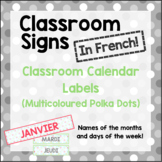 French Classroom Labels - Calendar Months and Days (Multicoloured Polka Dots)