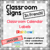 French Classroom Labels - Calendar Months and Days (Rainbow)