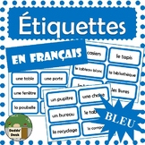 French Classroom Labels - Étiquettes pour la classe (Blue)