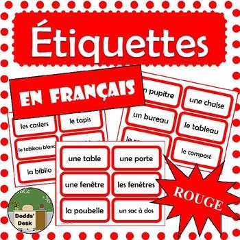 French Classroom Labels - Étiquettes pour la classe (Red)