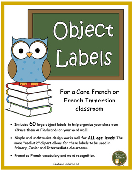 French Classroom Labels (les affiches) Core French and French Imm. (All Levels)