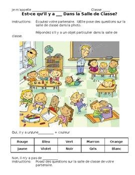 French- Classroom Object Speaking Activity