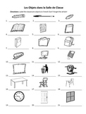 French Classroom Objects Labeling Worksheet