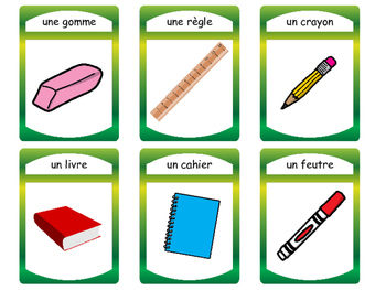 French Classroom Objects Vocabulary Presentation, Card Games and Worksheets