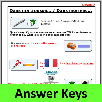 French Classroom Vocabulary Worksheets / Puzzles