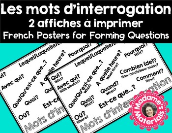 French Classroom Phrases Poster- Question words! / Affiche Mots d'interrogation!
