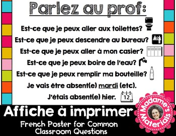 Printable French Classroom Poster - Parlez au Prof! / Phrases and Questions