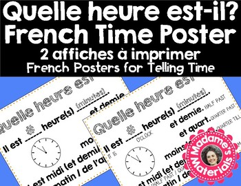 Printable French Classroom Poster - Time / Quelle heure est-il?