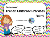 French Classroom Phrases Posters - Illustrated