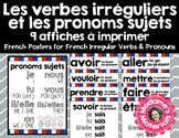 French Classroom Posters - Common Present-Tense Irregular Verbs + Pronouns