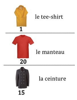 French  Clothing Vocabulary Scavenger Hunt Activity