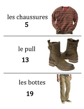 French  Clothing Vocabulary Scavenger Hunt Activity