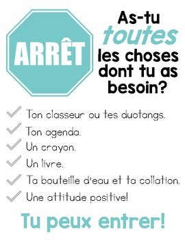 French Classroom Signs - As-tu toutes les choses dont tu as besoin?