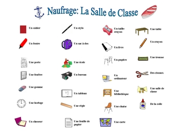 French Classroom Vocabulary Speaking/Writing  Activity (Naufrage)