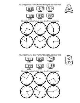 Spanish French (or even Kindergarten) - Clocks Time - Partner Activity
