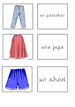 French Clothes Memory Game Les Vetements