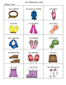 French Clothing Bingo Game