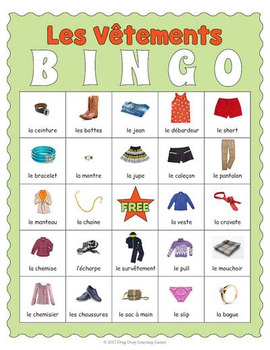 french clothing bingo les v tements by drag drop learning games. Black Bedroom Furniture Sets. Home Design Ideas