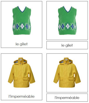 French - Clothing Cards