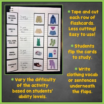 French Clothing, Clothes Interactive Notebook Flashcards, Les Vêtements