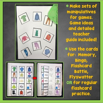 French Clothing Flashcards, Clothes Interactive Notebook, Les Vêtements