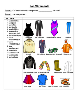 French Clothing Conversation Cards