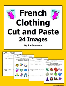 French Clothing Cut and Paste / Game Cards
