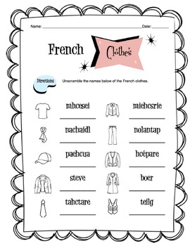 French Clothing Items Worksheet Packet