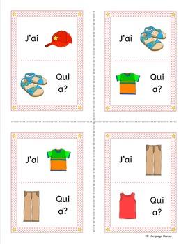 French Clothing J'ai ... Qui a ...? Game