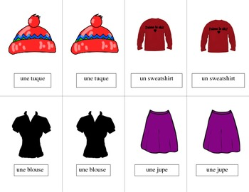 French Clothing-Les Vêtements Vocabulary Pair Cards and Activities