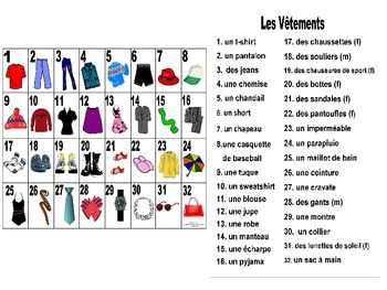 french clothing les v tements vocabulary teaching posters powerpoint. Black Bedroom Furniture Sets. Home Design Ideas