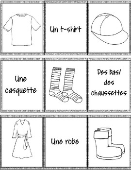 French Clothing Matching Game (VERSION B) – un jeu des paires