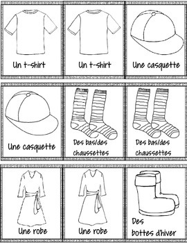French Clothing Matching Game – un jeu des paires