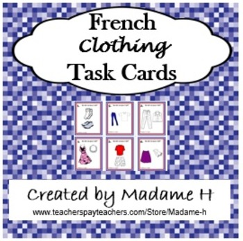 French Clothing Task Cards