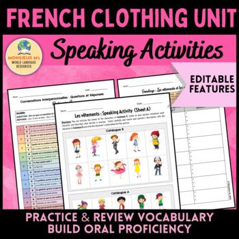 French Clothing Unit - Speaking Activities [Les Vêtements]