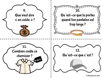 French Clothing Unit - Task Cards [Les Vêtements]