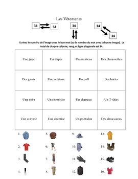 French Clothing Vocabulary Activities - Magic Squares