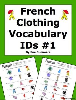 French Clothing Vocabulary IDs Worksheet