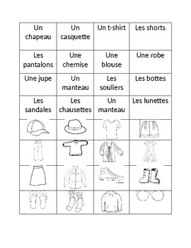 French Clothing Vocabulary Matching
